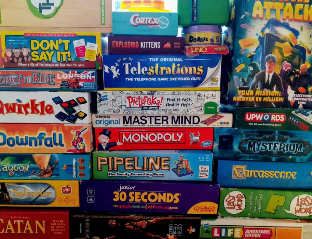 Stack of boardgames